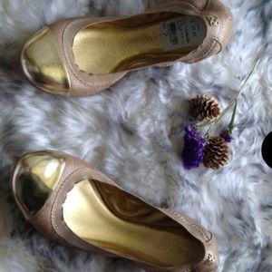 Coach Ballet Slip Ons in Gold and metallic…